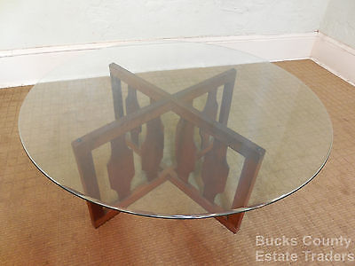Danish Modern Walnut Round Glass Top Coffee Table