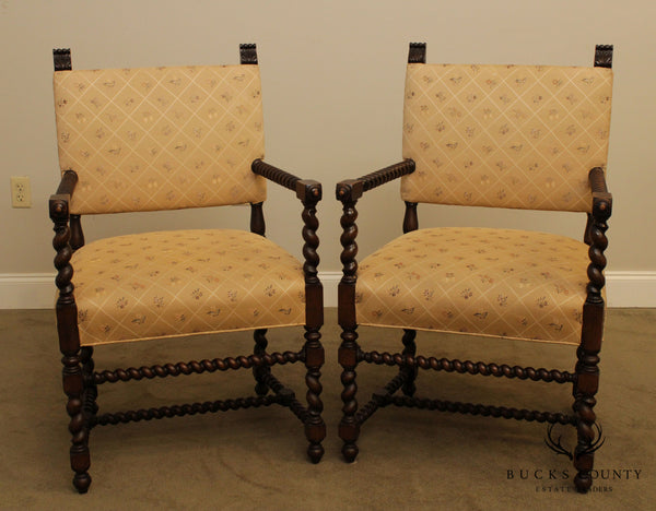 French Louis XIII Style Antique, Vintage Pair Barley Twist Armchairs