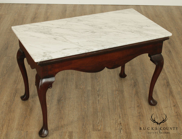 Antique Mahogany Queen Anne Marble Top Mixing or Console Table