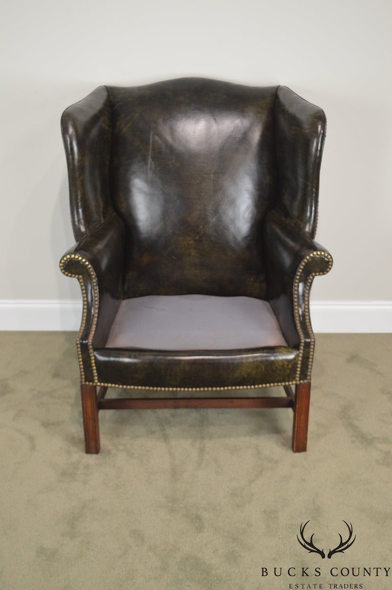 Chippendale Style Dark Green Leather Mahogany Wing Chair