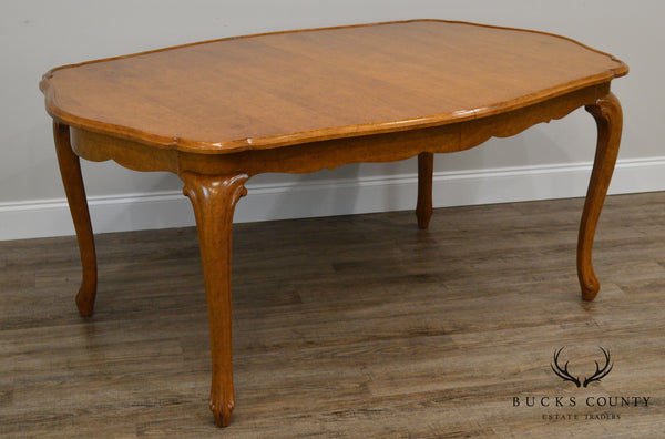 "French Country Light Walnut Scalloped Top Dining Table W/ 6 Leaves (68""-153"")"