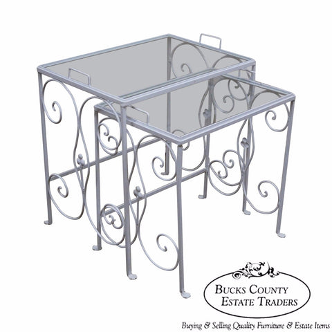 Salterini Vintage Iron Nesting Patio Tray Tables