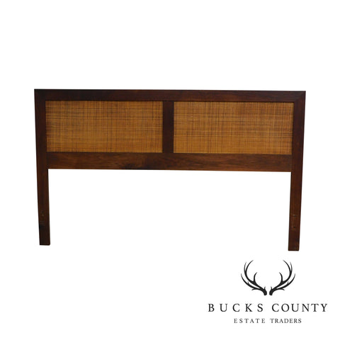 Mid Century Modern 1960's Walnut Cane Panel Full or Queen Size Headboard