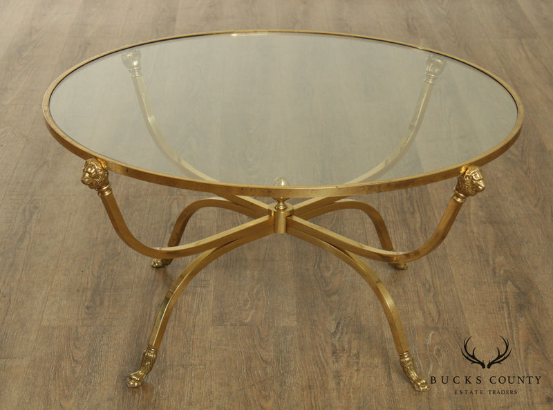 Directoire Style Vintage Italian Brass, Round Glass Top Coffee Table, Lions Heads