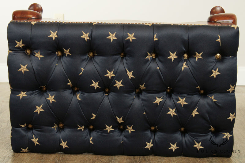 Custom Upholstered Tufted Patriotic Queen Anne Cherry Bench