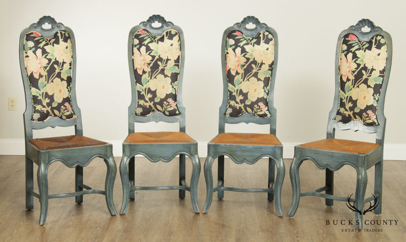 Vintage Set 4 Painted French Country Style Rush Seat Dining Chairs