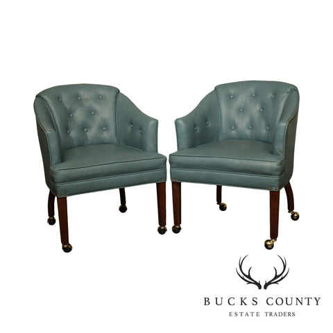 Mid Century Blue Tufted Vinyl Pair Club Chairs