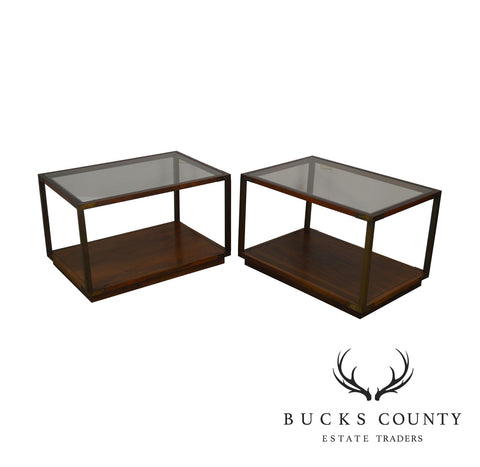 Lane Campaign Style Mid Century Modern Rosewood and Walnut Glass Top Pair Side Tables