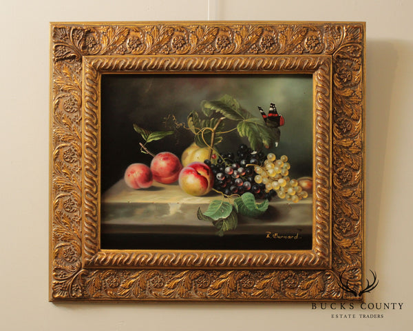R. Bernard Still Life Oil Painting on Canvas Front with Butterfly