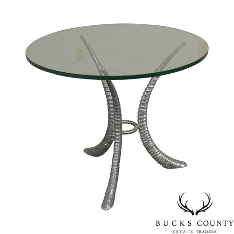 Arthur Court Sable Horn Cast Aluminum Round Glass Top Center Table