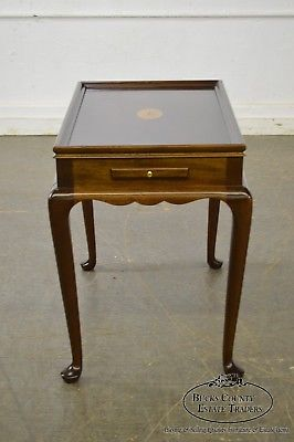 Mahogany Inlaid Top Queen Anne Tea Table