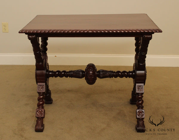 Italian Renaissance Revival Antique Carved Mahogany X Base Library Table