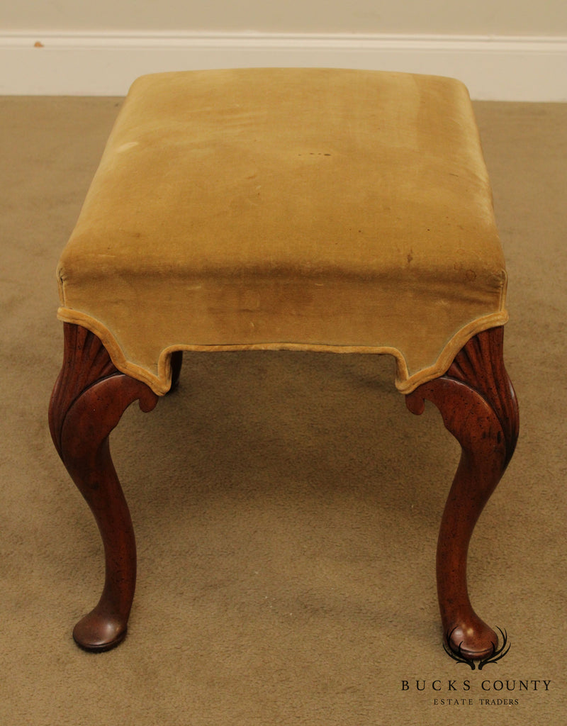 Hickory Chair Vintage Queen Anne Style Mahogany Bench, or Vanity Stool