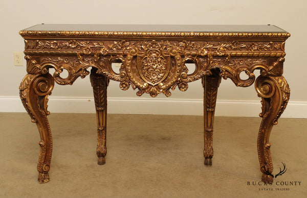 French Rococo Style Vintage Gilt Carved Console Table