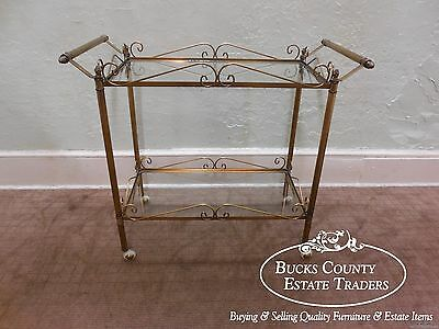 Vintage Hollywood Regency Brass & Glass 2 Tier Rolling Server Bar Cart