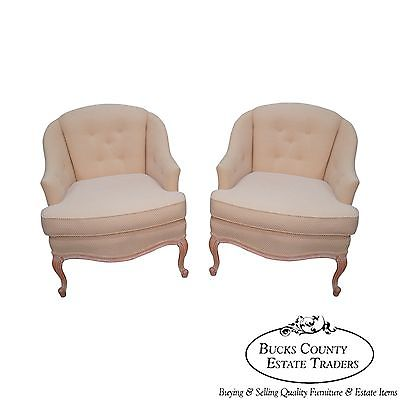 Quality French Louis XV Style Pair of Barrel Back Bergere Lounge Chairs