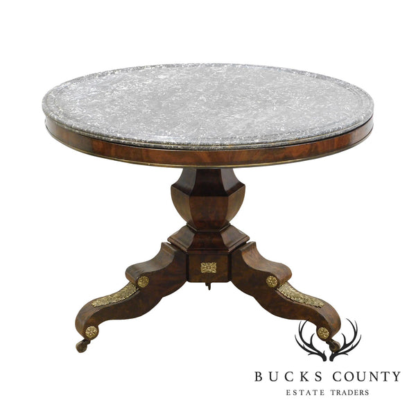 French Empire Period Antique 19th Century Ormolu Mounted Mahogany Round Marble Top Center Table