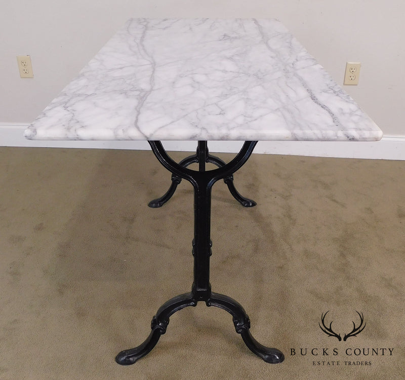 Antique Black Wrought Iron White Marble Top Pastry Table
