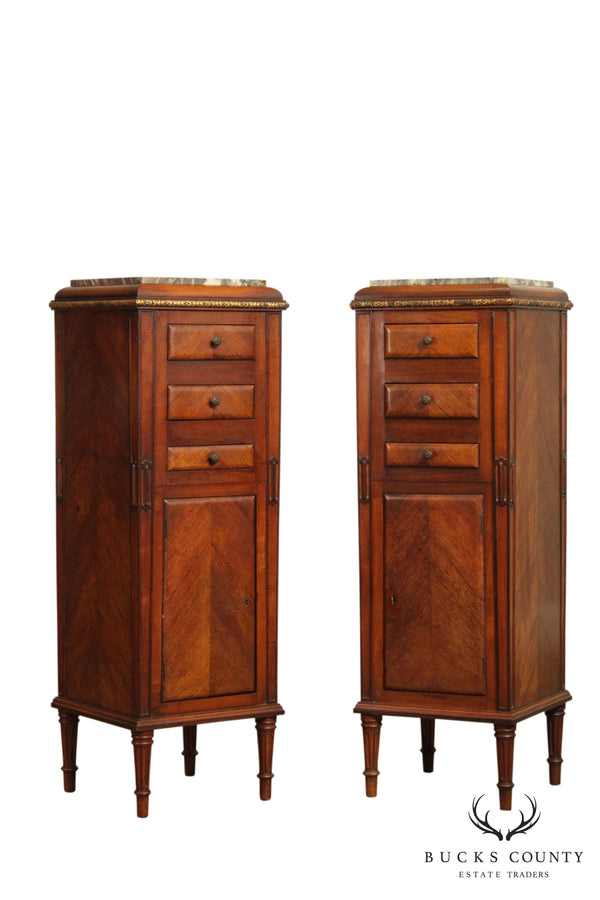 French Louis XVI Style Antique Pair Narrow Walnut Marble Top Cabinets