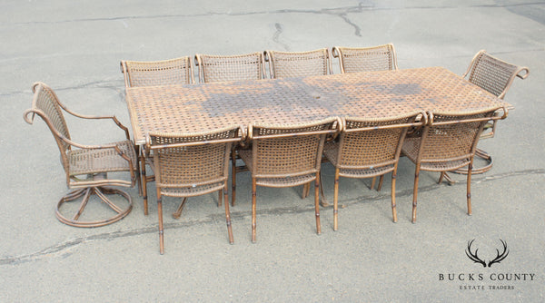 Summer Classics Faux Bamboo Large Cast Aluminum Patio Dining Set (Table + 10 Chairs)