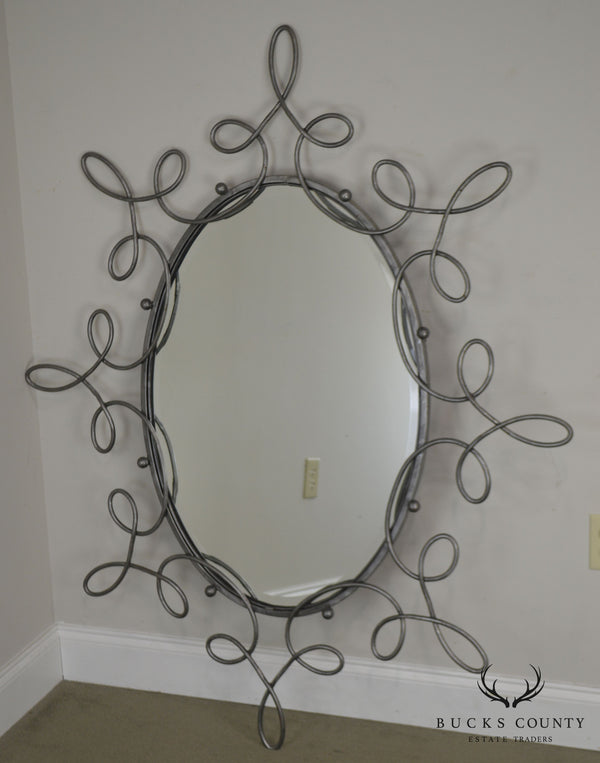 Unusual Scrolled Metal Frame Whimsical Beveled Wall Mirror