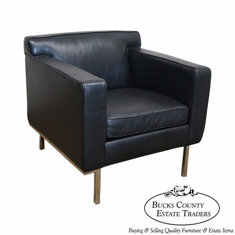 Ted Boerner American Leather Black Chrome Frame Lounge Chair