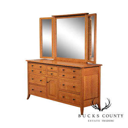 "Bunker Hill Collection Amish Oak Handcrafted 72"" Dresser w/ Mirror"