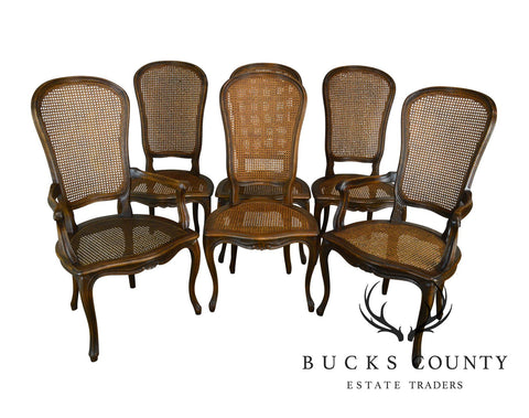 French Country Style Vintage Walnut Set of 6 Caned Dining Chairs