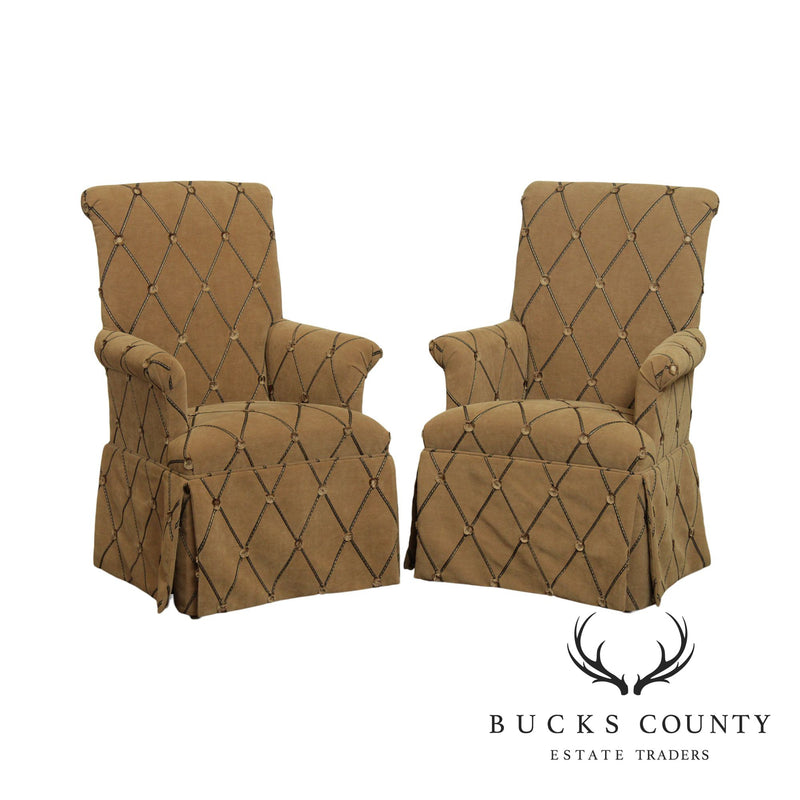 Quality Custom Upholstered Pair Host Armchairs