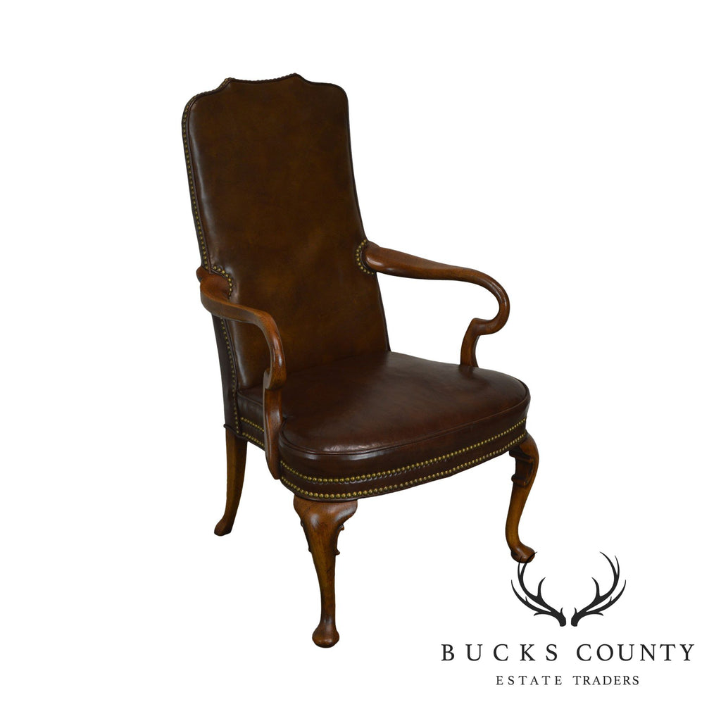 Incredible Hickory Chair Brown Leather Vintage Mahogany Queen Anne Gmtry Best Dining Table And Chair Ideas Images Gmtryco