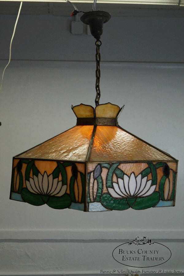 Antique Arts & Crafts Stained Glass Hanging Chandelier Light Fixture