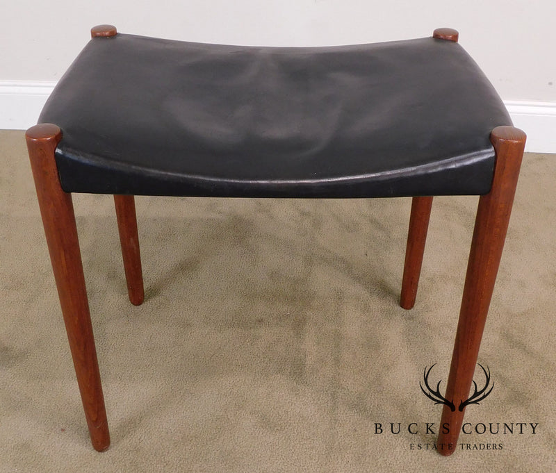 Willy Beck Danish Modern Teak and Black Leather Stool