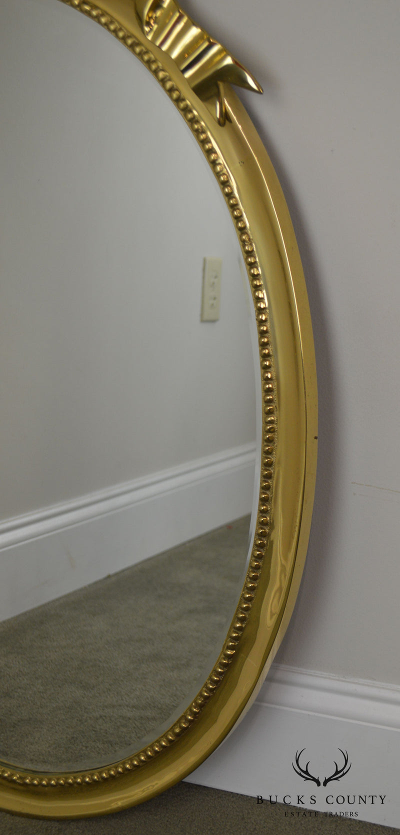 Solid Brass Frame French Ribbon Louis XVI Style Oval Mirror
