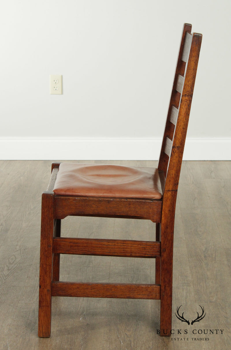 Gustav Stickley Antique Pair Mission Oak Ladder Back Side Dining Chairs