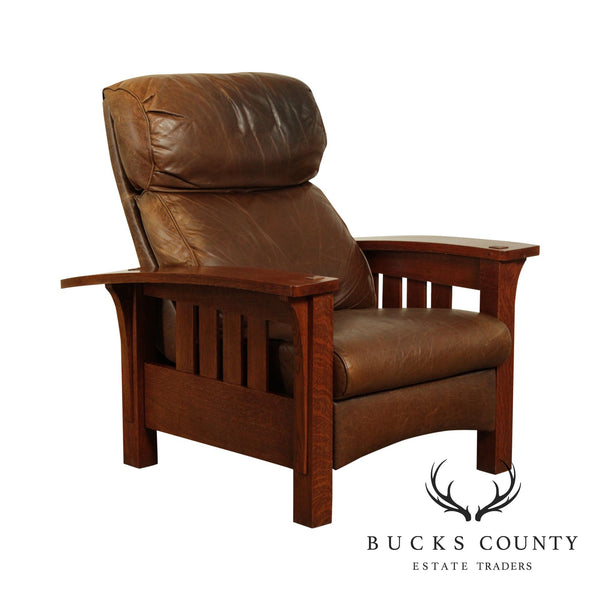 Stickley Mission Collection Oak Bow Arm Brown Leather Recliner