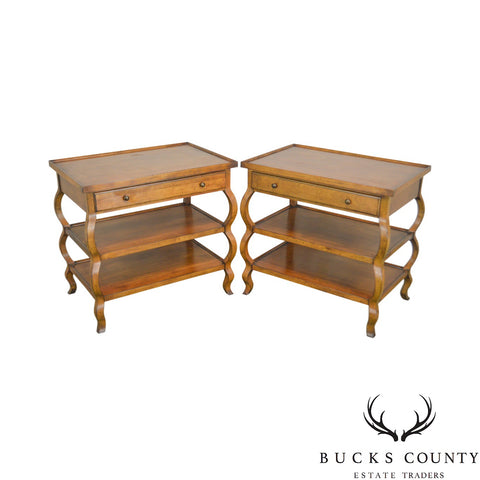 Baker Milling Road 3 Tier Pair of Side Tables or Nightstands w/ Drawer