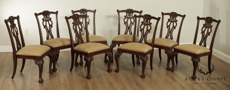 Ethan Allen Chippendale Style Set 10 Carved Ball and Claw Dining Chairs