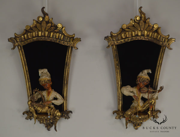 1960's Italian Rococo Pair Gilt Frames with Pixies Playing Instruments