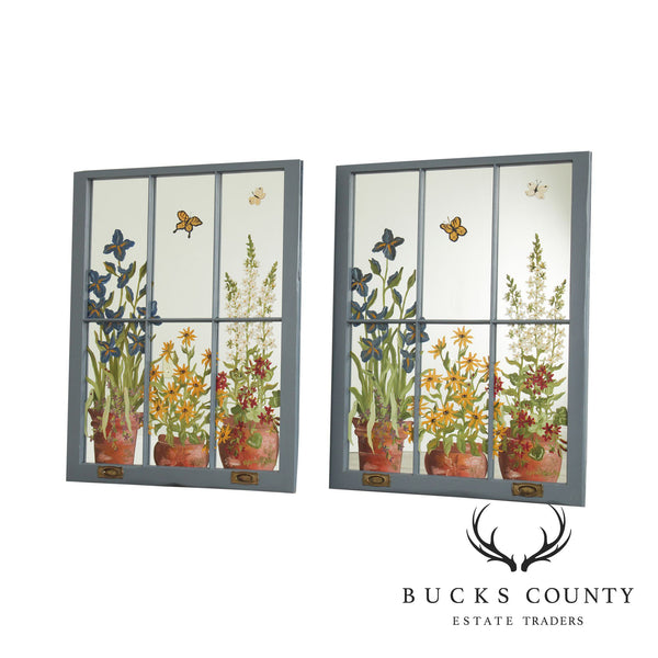 Antique Pair Wood Frame Windows, Hand Painted Flowers or Mirrors