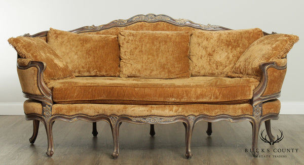 E. J. Victor Large French Louis XV Style 8 Leg Sofa