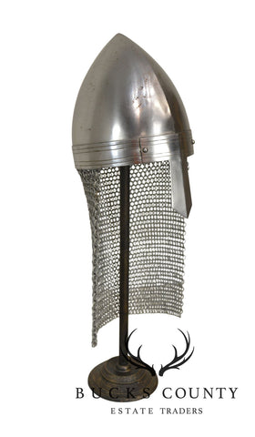 Reproduction Roman Medieval Helmet with Nose Guard and Aventail