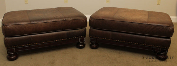 Bernhardt Distressed Brown Leather Large Pair Ottomans
