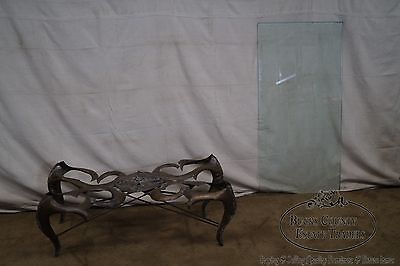 Sergio Bustamante Hammered Brass Mid Century Glass Top Coffee Table