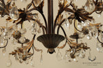French Louis XV Style Gilt Metal Leaf Design 12 Light Chandelier With Prisms (B)