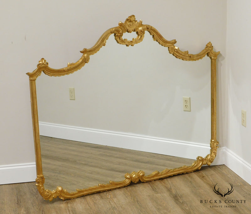 LaBarge Large French Louis XV Style Gilt Mantel Mirror