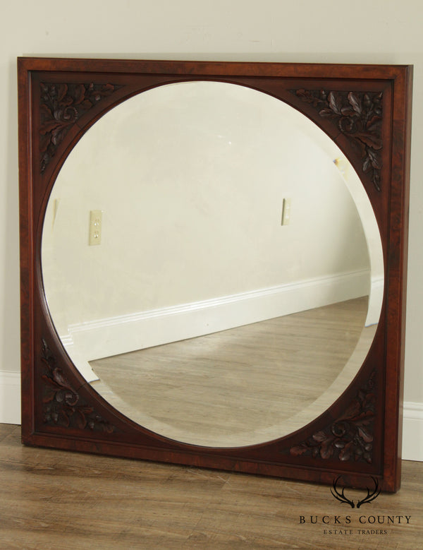 Antique Victorian Square Frame Acorn & Leaf Carved Frame Round Beveled Wall Mirror