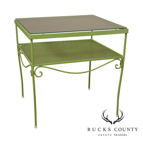 Woodard Vintage Green Painted Wrought Iron Glass Top Patio Side Table