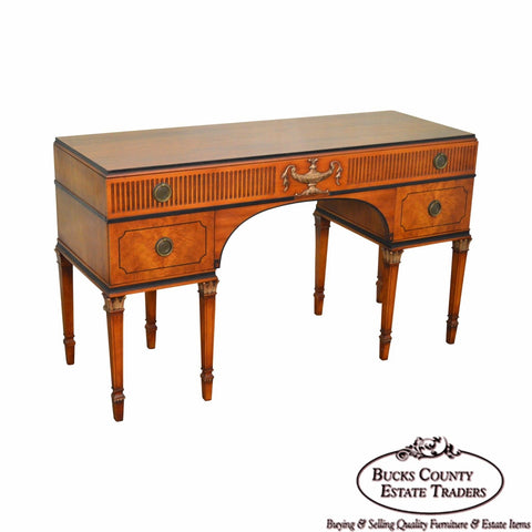 1930s Georgian Adams Style Crotch Walnut Vanity or Desk by Landstrom