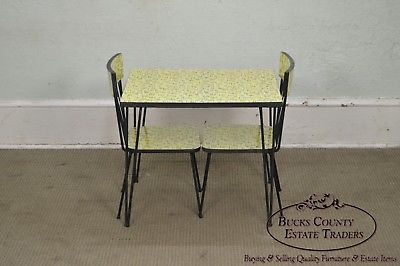 Mid-Century Modern Wrought Iron & Formica Childs Table & 2 Chair Kitchen Set