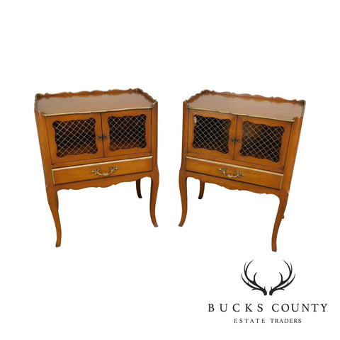 French Country Style Vintage Pair Fruitwood Nightstands